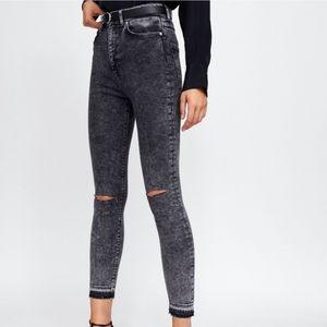 Zara hi waisted distressed jeans